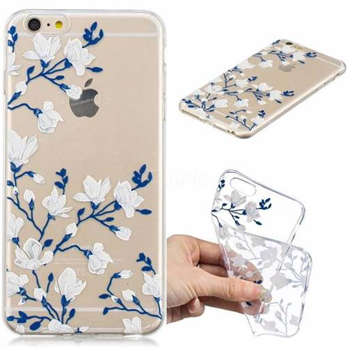 Magnolia Flower Clear Varnish Soft Phone Back Cover for iPhone 6s Plus / 6 Plus 6P(5.5 inch)