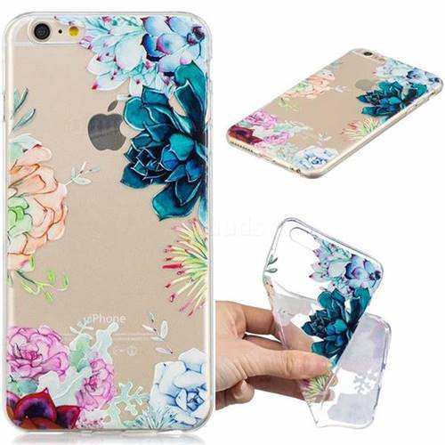 Gem Flower Clear Varnish Soft Phone Back Cover for iPhone 6s Plus / 6 Plus 6P(5.5 inch)