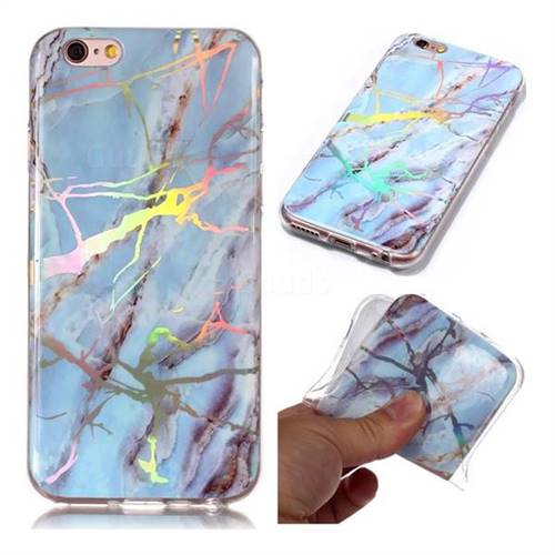 sale retailer 75a22 f42a3 Light Blue Marble Pattern Bright Color Laser Soft TPU Case for iPhone 6s  Plus / 6 Plus 6P(5.5 inch)