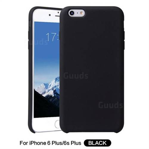 Howmak Slim Liquid Silicone Rubber Shockproof Phone Case Cover for iPhone 6s Plus / 6 Plus 6P(5.5 inch) - Black