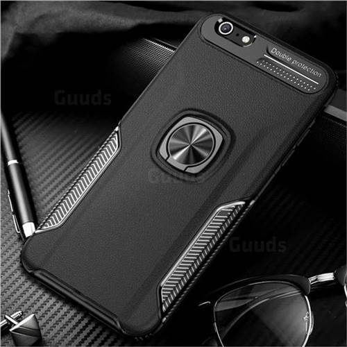 Knight Armor Anti Drop PC + Silicone Invisible Ring Holder Phone Cover for iPhone 6s Plus / 6 Plus 6P(5.5 inch) - Black