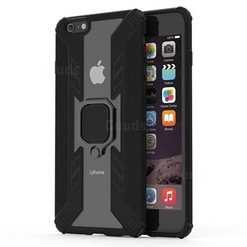 Predator Armor Metal Ring Grip Shockproof Dual Layer Rugged Hard Cover for iPhone 6s Plus / 6 Plus 6P(5.5 inch) - Black