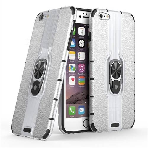 Alita Battle Angel Armor Metal Ring Grip Shockproof Dual Layer Rugged Hard Cover for iPhone 6s Plus / 6 Plus 6P(5.5 inch) - Silver