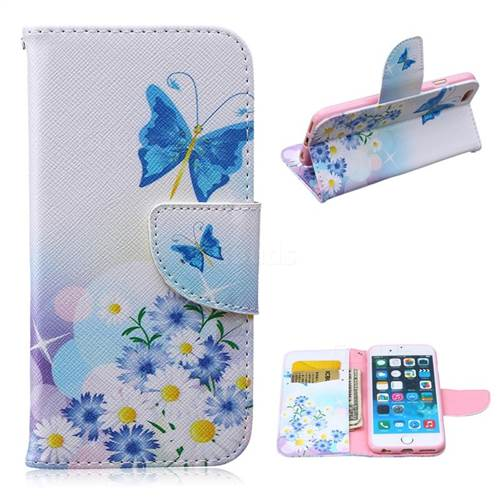 Butterflies Flowers Leather Wallet Case for iPhone 6 Plus (5.5 inch)