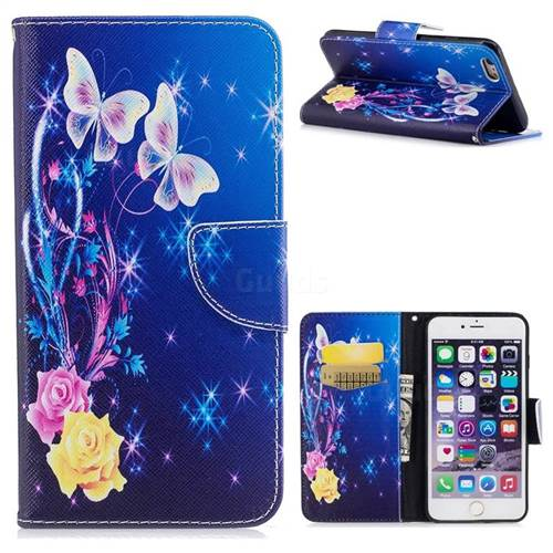 Yellow Flower Butterfly Leather Wallet Case for iPhone 6s Plus / 6 Plus 6P(5.5 inch)