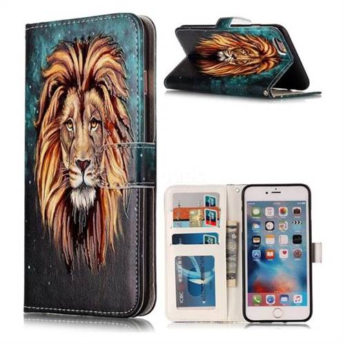 Ice Lion 3D Relief Oil PU Leather Wallet Case for iPhone 6s Plus / 6 Plus 6P(5.5 inch)