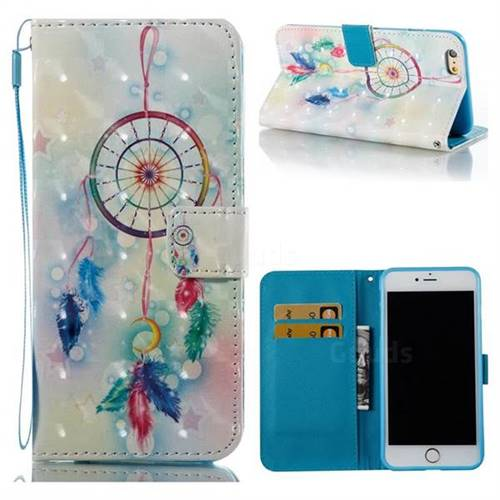 Feather Wind Chimes 3D Painted Leather Wallet Case for iPhone 6s Plus / 6 Plus 6P(5.5 inch)
