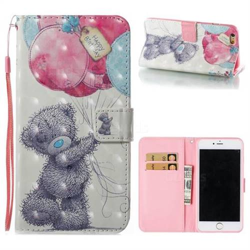 Gray Bear 3D Painted Leather Wallet Case for iPhone 6s Plus / 6 Plus 6P(5.5 inch)
