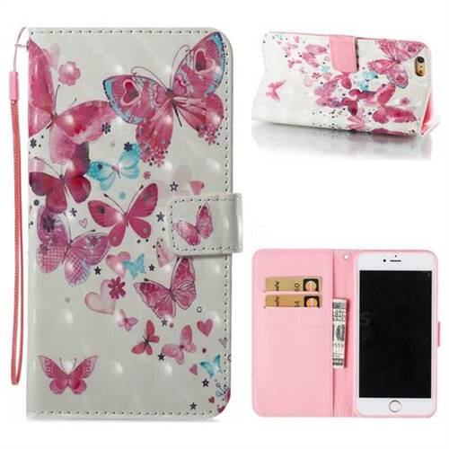 Heart Butterfly 3D Painted Leather Wallet Case for iPhone 6s Plus / 6 Plus 6P(5.5 inch)
