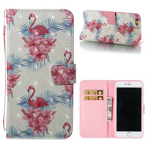 Flamingo and Azaleas 3D Painted Leather Wallet Case for iPhone 6s Plus / 6 Plus 6P(5.5 inch)