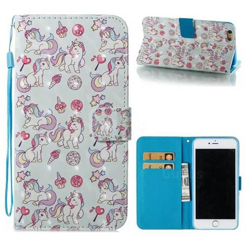 Playing Pony 3D Painted Leather Wallet Case for iPhone 6s Plus / 6 Plus 6P(5.5 inch)