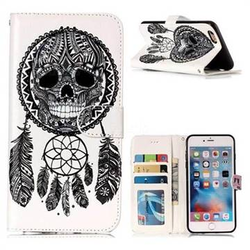 Wind Chimes Skull 3D Relief Oil PU Leather Wallet Case for iPhone 6s Plus / 6 Plus 6P(5.5 inch)