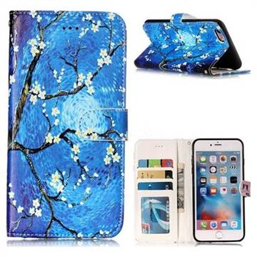 Plum Blossom 3D Relief Oil PU Leather Wallet Case for iPhone 6s Plus / 6 Plus 6P(5.5 inch)