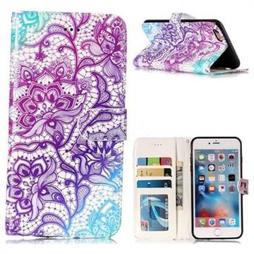 Purple Lotus 3D Relief Oil PU Leather Wallet Case for iPhone 6s Plus / 6 Plus 6P(5.5 inch)