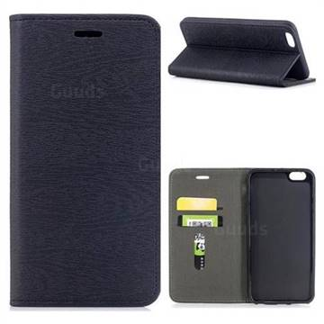 Tree Bark Pattern Automatic suction Leather Wallet Case for iPhone 6s Plus / 6 Plus 6P(5.5 inch) - Black
