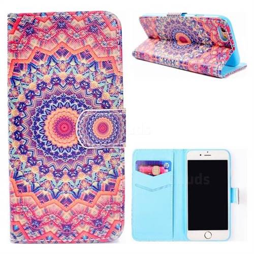 Orange Mandala Flower Stand Leather Wallet Case for iPhone 6s Plus / 6 Plus 6P(5.5 inch)