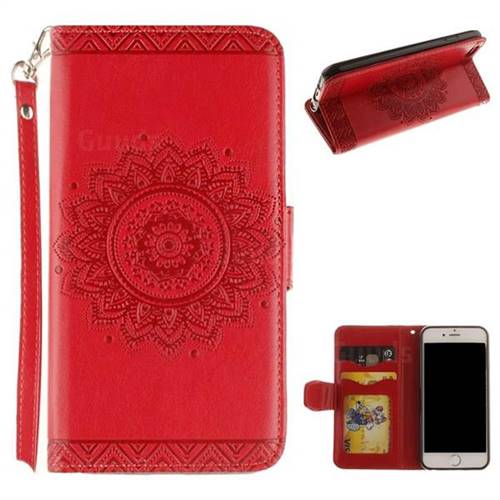 Embossed Datura Flower PU Leather Wallet Case for iPhone 6s Plus / 6 Plus 6P(5.5 inch) - Red