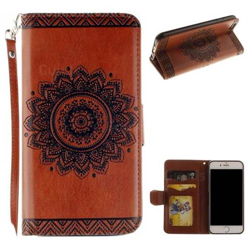 Embossed Datura Flower PU Leather Wallet Case for iPhone 6s Plus / 6 Plus 6P(5.5 inch) - Brown