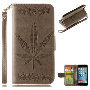 Intricate Embossing Maple Leather Wallet Case for iPhone 6s Plus / 6 Plus 6P(5.5 inch) - Gray