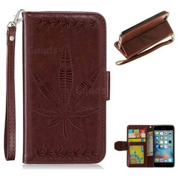 Intricate Embossing Maple Leather Wallet Case for iPhone 6s Plus / 6 Plus 6P(5.5 inch) - Brown