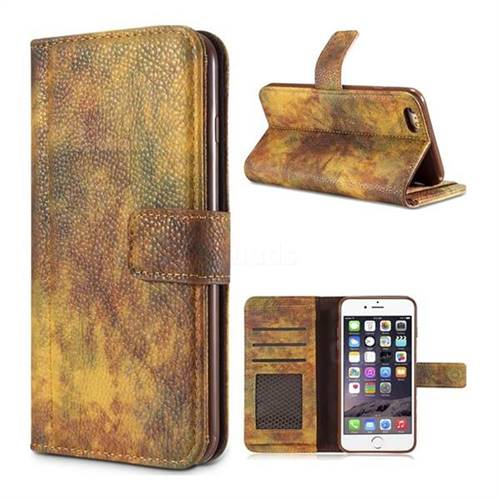 Luxury Retro Forest Series Leather Wallet Case for iPhone 6s Plus / 6 Plus 6P(5.5 inch) - Yellow
