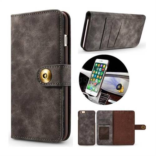 Luxury Vintage Split Separated Leather Wallet Case for iPhone 6s Plus / 6 Plus 6P(5.5 inch) - Black