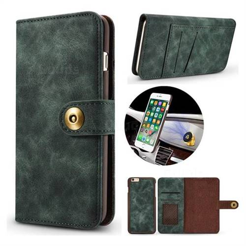 Luxury Vintage Split Separated Leather Wallet Case for iPhone 6s Plus / 6 Plus 6P(5.5 inch) - Dark Green
