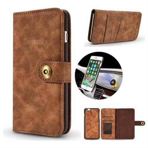 Luxury Vintage Split Separated Leather Wallet Case for iPhone 6s Plus / 6 Plus 6P(5.5 inch) - Brown