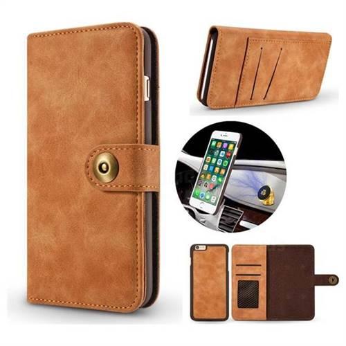 Luxury Vintage Split Separated Leather Wallet Case for iPhone 6s Plus / 6 Plus 6P(5.5 inch) - Khaki