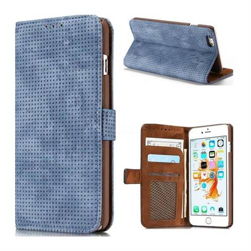 Luxury Vintage Mesh Monternet Leather Wallet Case for iPhone 6s Plus / 6 Plus 6P(5.5 inch) - Blue