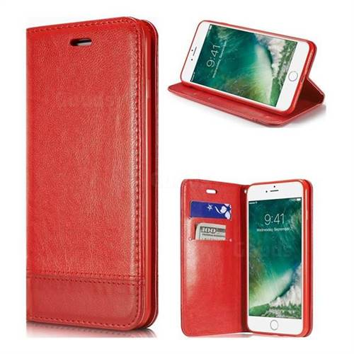 Magnetic Suck Stitching Slim Leather Wallet Case for iPhone 6s Plus / 6 Plus 6P(5.5 inch) - Red