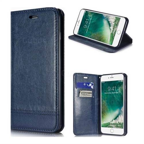 Magnetic Suck Stitching Slim Leather Wallet Case for iPhone 6s Plus / 6 Plus 6P(5.5 inch) - Sapphire