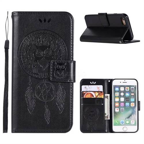 Intricate Embossing Owl Campanula Leather Wallet Case for iPhone 6s Plus / 6 Plus 6P(5.5 inch) - Black