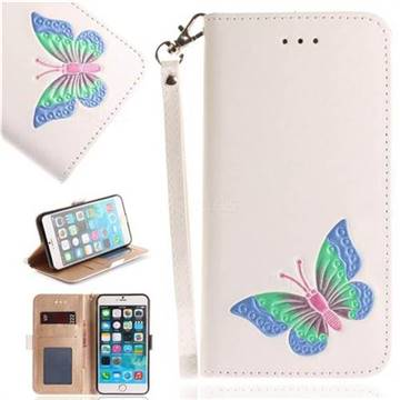 Imprint Embossing Butterfly Leather Wallet Case for iPhone 6s Plus / 6 Plus 6P(5.5 inch) - White
