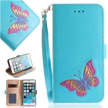 Imprint Embossing Butterfly Leather Wallet Case for iPhone 6s Plus / 6 Plus 6P(5.5 inch) - Sky Blue