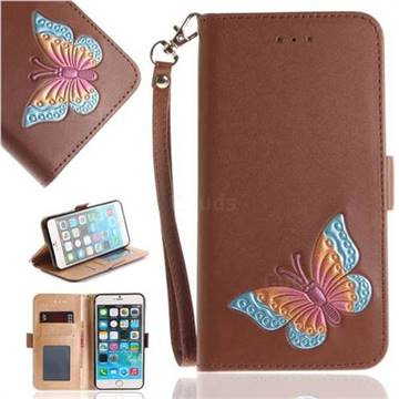 Imprint Embossing Butterfly Leather Wallet Case for iPhone 6s Plus / 6 Plus 6P(5.5 inch) - Brown