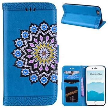 Datura Flowers Flash Powder Leather Wallet Holster Case for iPhone 6s Plus / 6 Plus 6P(5.5 inch) - Blue