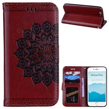 Datura Flowers Flash Powder Leather Wallet Holster Case for iPhone 6s Plus / 6 Plus 6P(5.5 inch) - Brown
