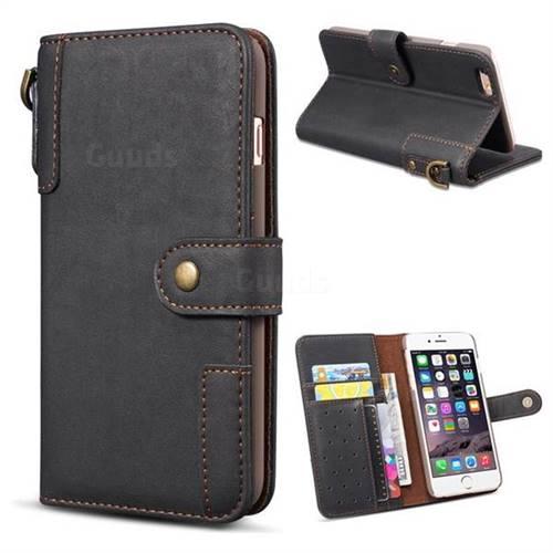 Retro Luxury Cowhide Leather Wallet Case for iPhone 6s Plus / 6 Plus 6P(5.5 inch) - Black