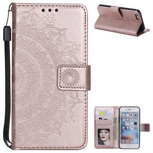 Intricate Embossing Datura Leather Wallet Case for iPhone 6s Plus / 6 Plus 6P(5.5 inch) - Rose Gold