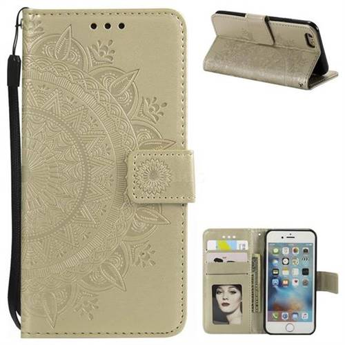 Intricate Embossing Datura Leather Wallet Case for iPhone 6s Plus / 6 Plus 6P(5.5 inch) - Golden
