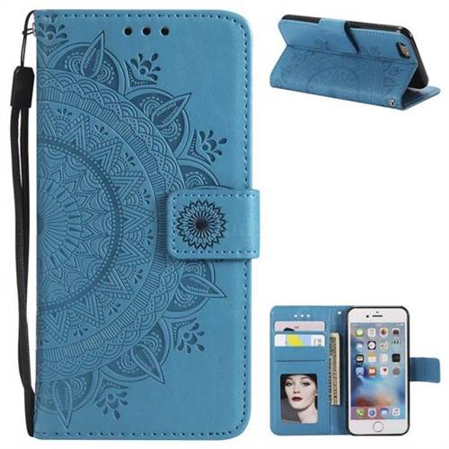 Intricate Embossing Datura Leather Wallet Case for iPhone 6s Plus / 6 Plus 6P(5.5 inch) - Blue