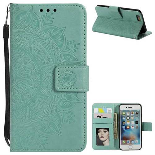 Intricate Embossing Datura Leather Wallet Case for iPhone 6s Plus / 6 Plus 6P(5.5 inch) - Mint Green