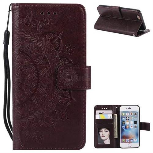 Intricate Embossing Datura Leather Wallet Case for iPhone 6s Plus / 6 Plus 6P(5.5 inch) - Brown