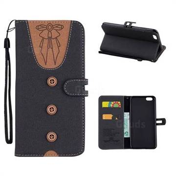Ladies Bow Clothes Pattern Leather Wallet Phone Case for iPhone 6s Plus / 6 Plus 6P(5.5 inch) - Black