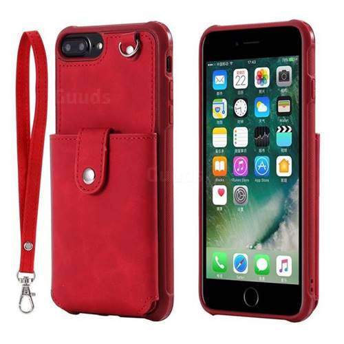 Retro Luxury Anti-fall Mirror Leather Phone Back Cover for iPhone 6s Plus / 6 Plus 6P(5.5 inch) - Red