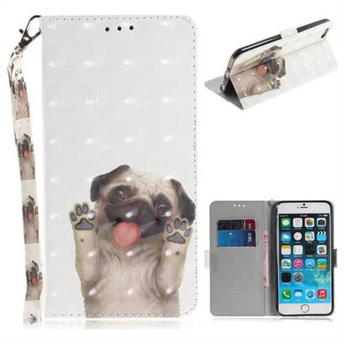 new product 3c4f6 72df1 Pug Dog 3D Painted Leather Wallet Phone Case for iPhone 6s Plus / 6 Plus  6P(5.5 inch)