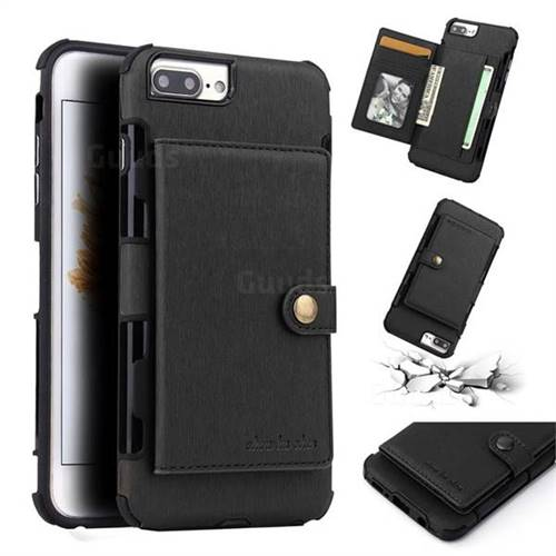 Brush Multi-function Leather Phone Case for iPhone 6s Plus / 6 Plus 6P(5.5 inch) - Black