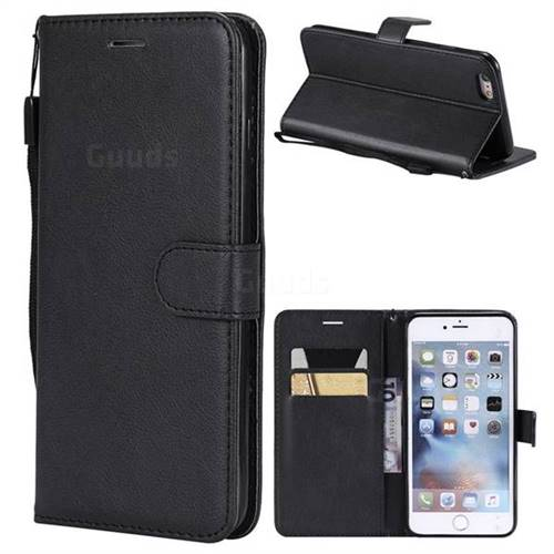 Retro Greek Classic Smooth PU Leather Wallet Phone Case for iPhone 6s Plus / 6 Plus 6P(5.5 inch) - Black