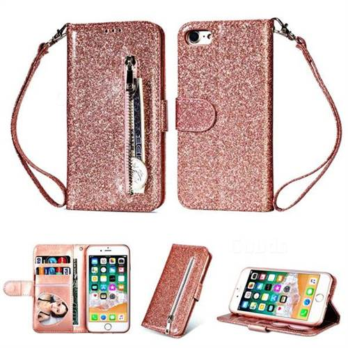 the best attitude ea62f 26307 Glitter Shine Leather Zipper Wallet Phone Case for iPhone 6s Plus / 6 Plus  6P(5.5 inch) - Pink